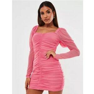 Pink ruched long sleeve mini dress